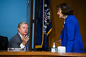 "United States Senator Lindsey Graham (Republican of South  Carolina), Chairman, US Senate Judiciary Committee, and ranking member United States Senator Dianne Feinstein (Democrat of California), Ranking Member, US Senate Judiciary Committee, are seen during the US Senate Judiciary Committee hearing titled ""Examining Best Practices for Incarceration and Detention During COVID-19,"" in Dirksen Building in Washington, D.C. on Tuesday, June 2, 2020.<br /> Credit: Tom Williams / Pool via CNP"
