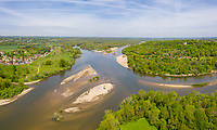 France, Cher, Berry, Cuffy, Le Bec d'Allier, Bec d'Aliier with Allier River and Loire River (aerial view) // France, Cher (18), Berrry, Cuffy, Le-Bec-d'Allier, le Bec d'Allier avec l'Allier et la Loire (vue aérienne)