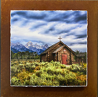 """Teton Chapel - Mixed Media - Wyoming<br /> <br /> Each unique piece is made to order. If I have the piece in stock I can ship it in 2-3 days. If I don't have it in stock and it has to be made, it will ship in 1-2 weeks. Feel free to contact me at chey.rouse@gmail.com before you order if you need the piece ASAP. <br /> <br /> The photograph is printed on a Silk photo paper, the edges of the photo are torn, photo is mounted to foam board, then I mount it to an 8""""x8"""" piece of rusted metal. The rust is unique on each piece...no two pieces are alike. PLEASE keep in mind that the rust on the piece(s) you receive may be slightly different than the photo. Each piece of metal is sealed after it is done """"rusting"""" and is titled, hand signed and, ready to hang. To see the detail for theses Mixed Media pieces please click on the 1st photo in this gallery. You will be able to see the detail of the torn paper edge as well as the back of the piece. Just click on the piece that you like in this Gallery and then click the GREEN """"BUY"""" button in the left hand corner to add it to your cart."""