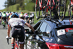 Daniela Reis (POR) Doltcini-Van Eyck Sport UCI Women Cycling at the team car during La Fleche Wallonne Femmes 2018 running 118.5km from Huy to Huy, Belgium. 18/04/2018.<br /> Picture: ASO/Thomas Maheux | Cyclefile.<br /> <br /> All photos usage must carry mandatory copyright credit (© Cyclefile | ASO/Thomas Maheux)