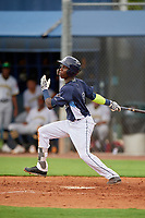 GCL Rays Luis Arcendo (3) bats during a Gulf Coast League game against the GCL Pirates on August 7, 2019 at Charlotte Sports Park in Port Charlotte, Florida.  GCL Rays defeated the GCL Pirates 5-3 in the second game of a doubleheader.  (Mike Janes/Four Seam Images)