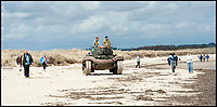 BNPS.co.uk (01202 558833)<br /> Pic: LauraJones/BNPS<br /> <br /> Pictured: An amphibious Duplex Drive tank on the beach at Studland, Dorset. <br /> <br /> The medals and personal effects of an unsung hero of D-Day have emerged for sale for £6,000.<br /> <br /> Lieutenant Colonel Douglas Bain trialled the amphibious Duplex Drive tanks ahead of the Normandy landings in June 1944.<br /> <br /> He commanded three DD training schools preparing tanks for sea and river assaults, reporting personally to Field Marshal Bernard Montgomery.<br /> <br /> The dangerous trials, which tested the 'waterproofing' of the amphibious armoured vehicles, were carried out off the south coast of England.