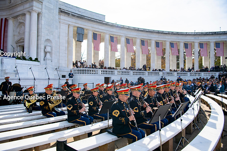 """The U.S. Army Band, """"Pershing's Own"""", performs as part of the National Veterans Day Observation in the Memorial Amphitheater at Arlington National Cemetery, Arlington, Virginia, Nov. 11, 2019. Vice President Mike Pence with Secretary of Veterans Affairs Robert Wilkie participated in a wreath-laying ceremony at the Tomb of the Unknown Soldier and spoke to the crowd in the Memorial Amphitheatre as part of the observance. (U.S. Army photo by Elizabeth Fraser / Arlington National Cemetery / released)"""
