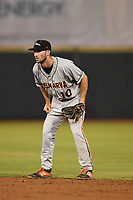 Adam Hall (10) of the Delmarva Shorebirds in action during game one of the Northern Division, South Atlantic League Playoffs against the Hickory Crawdads at L.P. Frans Stadium on September 4, 2019 in Hickory, North Carolina. The Crawdads defeated the Shorebirds 4-3 to take a 1-0 lead in the series. (Tracy Proffitt/Four Seam Images)