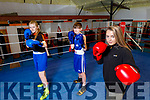 Slieve Luchra boxing club members waiting to enter the ring as soon as they reopen. <br /> Front: Katln Horan.  Back l to r: Ava Fitzmaurice and Dean Martin