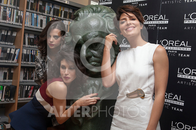 Spanish actress Macarena Gomez, Nerea Barros and Barbara Lennie pose for photographers during a presentation for a sponsor of the Goya Awards with hairdressers and Makeup artist at Academia de Cinema in Madrid January 14, 2015, Spain. (ALTERPHOTOS / Nacho Lopez)