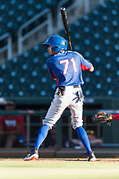 AZL Rangers second baseman Jayce Easley (71) at bat during an Arizona League playoff game against the AZL Indians 1 at Goodyear Ballpark on August 28, 2018 in Goodyear, Arizona. The AZL Rangers defeated the AZL Indians 1 7-4. (Zachary Lucy/Four Seam Images)