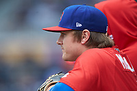 Reese McGuire (3) of the Buffalo Bison watches from the dugout during the game against the Durham Bulls at Durham Bulls Athletic Park on April 25, 2018 in Allentown, Pennsylvania.  The Bison defeated the Bulls 5-2.  (Brian Westerholt/Four Seam Images)