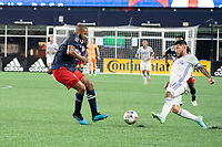 FOXOBOROUGH, MA - AUGUST 21: Andrew Farrell #2 of New England Revolution defends as Ben Mines #17 of FC Cincinnati approaches the goal during a game between FC Cincinnati and New England Revolution at Gillette Stadium on August 21, 2021 in Foxoborough, Massachusetts.