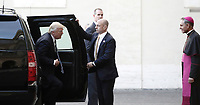 US President Donald Trump is welcomed by Archibishop Mons. Georg Gaenswein, as he arrives at the San Damaso courtyard for his private audience with Pope Francis, at the Vatican, May 24, 2017.<br /> UPDATE IMAGES PRESS/Isabella Bonotto<br /> STRICTLY ONLY FOR EDITORIAL USE