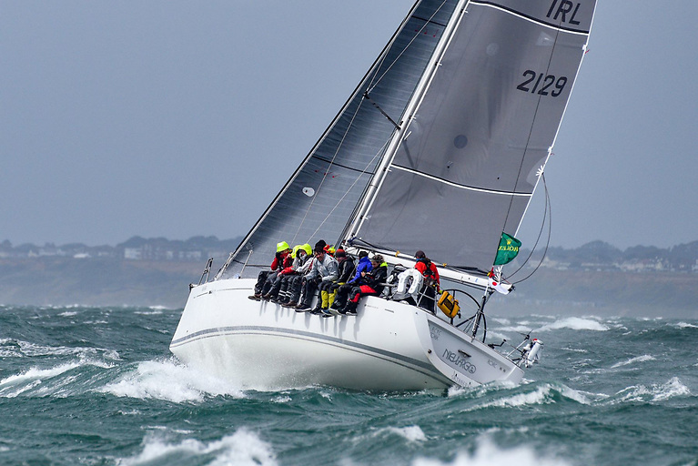 Rugged sailing exiting the Solent for the Murphy family's Grand Soleil 40 Nieulargo during the early stages of the Fastnet Race