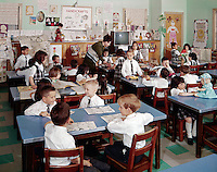 St. John Villa Academy, New York. Young children in grade school uniforms.