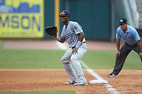 Pensacola Blue Wahoos first baseman Lewin Diaz (11) on defense against the Birmingham Barons at Regions Field on July 7, 2019 in Birmingham, Alabama. The Barons defeated the Blue Wahoos 6-5 in 10 innings. (Brian Westerholt/Four Seam Images)