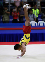 BARRANQUILLA - COLOMBIA, 23-07-2018: Jossimar Calvo de Colombia durante su participación en gimnasia hombres modalidad piso como parte de los Juegos Centroamericanos y del Caribe Barranquilla 2018. /  Jossimar Calvo of Colombia during his participation in gymnastics men's floor category as a part of the Central American and Caribbean Sports Games Barranquilla 2018. Photo: VizzorImage / Cont