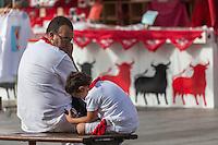 Espagne, Navarre, Pampelune:  Lors  des Fêtes de San Fermín,    //  Spain, Navarre, Pamplona:  During the Festival of San Fermín,