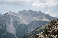 view up the Col de l'Izoard (HC/2354m/14.2km@7%)<br /> <br /> Stage 18: Embrun to Valloire(208km)<br /> 106th Tour de France 2019 (2.UWT)<br /> <br /> ©kramon