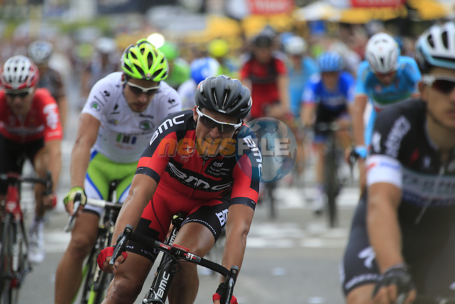 Riders including Greg Van Avermaet (BEL) BMC Racing cross the finish line at the end of Stage 2 of the 2014 Tour de France running 200km from York to Sheffield. 6th July 2014.<br /> Picture: Eoin Clarke www.newsfile.ie