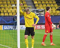 14th April 2021; Induna Park, Dortmund, Germany; UEFA Champions League Football quarter-final, Borussia Dortmund versus Manchester City;   Erling Haaland Borussia Dortmund and Marwin Hitz Borussia Dortmund disappointed to lose the game