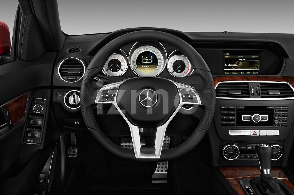 Steering wheel view of a 2013 Mercedes-Benz C250 Sport Sedan