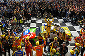 #18: Kyle Busch, Joe Gibbs Racing, Toyota Camry M&M's, wins the Federated Auto Parts 400 race..
