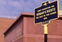 Women's rights, New York, Seneca Falls, Finger Lakes, A sign is displayed at the Women's Rights National Historical Park where the first Women's Rights Convention was held in Seneca Falls