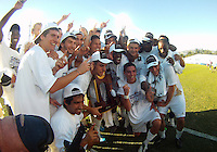 Players of the University of Akron after the 2010 College Cup final against the University of Louisville at Harder Stadium, on December 12 2010, in Santa Barbara, California. Akron champions, 1-0.