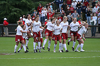 18 November 2007: Shari Summers, Kelley O'Hara, Christen Press, Lizzy George, Allison McCann, April Wall, Allison Falk, Rachel Buehler, and Alicia Jenkins during Stanford's 1-1 double overtime shootout win over California in the second round of the NCAA Division 1 Women's Soccer Championships at Laird Q. Cagan Stadium in Stanford, CA.