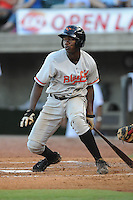 Bluefield Orioles Corey Thomas at Pioneer Park in Greenville, Tennessee July 19, 2010.   Greenville won the game 7-6.  Photo By Tony Farlow/Four Seam Images