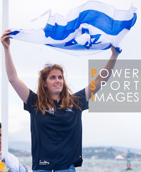 Maayan Davidovich form Israel  in the podium during the ISAF Sailing World Championships 2014 at the Real Club Maritimo of Santander on September 19, 2014 in Santander, Spain. Photo by Nacho Cubero / Power Sport Images