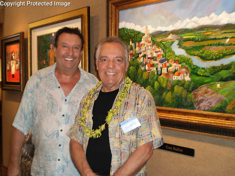 """Longtime friend, Lucien Charbonnier with Guy Buffet at Lahaina Galleries' 2009 luxury art event; """"The Art of Aloha"""", held each January on Maui."""