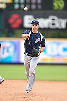 Pensacola Blue Wahoos second baseman Brodie Greene (4) throws to first during a game against the Jacksonville Suns on April 20, 2014 at Bragan Field in Jacksonville, Florida.  Jacksonville defeated Pensacola 5-4.  (Mike Janes/Four Seam Images)