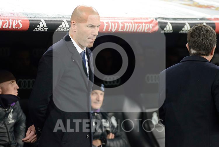 Real Madrid's coach Zinedine Zidane during Copa del Rey match between Real Madrid and Sevilla FC at Santiago Bernabeu Stadium in Madrid, Spain. January 04, 2017. (ALTERPHOTOS/BorjaB.Hojas)