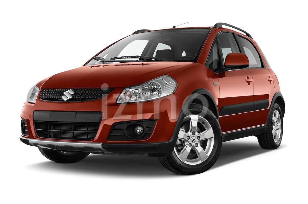 Stock pictures of low aggressive front three quarter view of a 2013 Suzuki SX4 Grand Luxe Exterior 5 Door SUV 2WD Low Aggressive