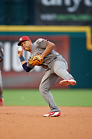 Lehigh Valley IronPigs second baseman Heiker Meneses (3) throws to first base during a game against the Buffalo Bisons on June 23, 2018 at Coca-Cola Field in Buffalo, New York.  Lehigh Valley defeated Buffalo 4-1.  (Mike Janes/Four Seam Images)