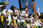 North Dakota State Bison players celebrate after winning the FCS Championship game between the North Dakota State Bison and the Sam Houston State Bearkats at the FC Dallas Stadium in Frisco, Texas. North Dakota defeats Sam Houston 39 to 13..