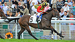 Elusive Kate, (no. 5), ridden by William Buick and trained by John Gosden, wins the group 1 Prix Rothschild Stakes for fillies and mares three years old and upward on July 29, 2012 at Deauville-La Touques Racecourse in Deauville, Basse-Normandie, France.  (Bob Mayberger/Eclipse Sportswire)