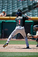 Derek Gibson (1) of the Albuquerque Isotopes bats against the Salt Lake Bees in Pacific Coast League action at Smith's Ballpark on June 11, 2017 in Salt Lake City, Utah. The Bees defeated the Isotopes 6-5. (Stephen Smith/Four Seam Images)