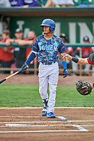 Jeremy Arocho (8) of the Ogden Raptors bats against the Billings Mustangs at Lindquist Field on August 17, 2018 in Ogden, Utah. Billings defeated Ogden 6-3. (Stephen Smith/Four Seam Images)
