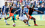 Mantovani of Club Deportivo Leganes competes for the ball with Nani of Valencia CF during their La Liga match between Club Deportivo Leganes and Valencia CF at the Butarque Municipal Stadium on 25 September 2016 in Madrid, Spain. Photo by Diego Gonzalez Souto / Power Sport Images