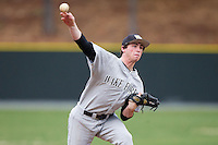 Wake Forest Demon Deacons starting pitcher Connor Johnstone (30) delivers a pitch to the plate against the Davidson Wildcats at Wilson Field on March 19, 2014 in Davidson, North Carolina.  The Wildcats defeated the Demon Deacons 7-6.  (Brian Westerholt/Four Seam Images)