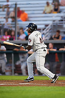 Tri-City ValleyCats left fielder Ronnie Dawson (44) at bat during a game against the Auburn Doubledays on August 25, 2016 at Falcon Park in Auburn, New York.  Tri-City defeated Auburn 4-3.  (Mike Janes/Four Seam Images)