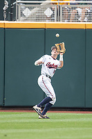 Auburn Tigers outfielder Kason Howell (16) makes a catch during Game 7 of the NCAA College World Series against the Louisville Cardinals on June 18, 2019 at TD Ameritrade Park in Omaha, Nebraska. Louisville defeated Auburn 5-3. (Andrew Woolley/Four Seam Images)