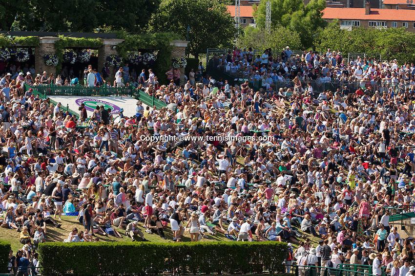 England, London, Juli 06, 2015, Tennis, Wimbledon, Spectators on Murray mountain<br /> Photo: Tennisimages/Henk Koster