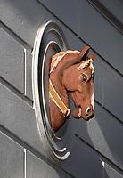 Nederland  Haarlem - 2020.  Gevelsteen met hoofd van een paard.   Foto : ANP/ HH / Berlinda van Dam