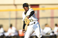 Bristol Pirates starting pitcher Jose Maldonado (45) delivers a pitch against the Pulaski Yankees at Boyce Cox Field on July 8, 2019 in Bristol, Virginia. The Yankees defeated the Pirates 5-0. (Tracy Proffitt/Four Seam Images)