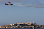 The U.S. Navy's precision flight demonstration team, the Blue Angels, practice over the San Francisco Bay Alcatraz as seen from Marina Greens.