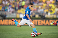 action photo during the match Brasil vs Ecuador, at Rose Bowl Stadium Copa America Centenario 2016. ---Foto  de accion durante el partido Brasil vs Ecuador, En el Estadio Rose Bowl, Partido Correspondiante al Grupo -B-  de la Copa America Centenario USA 2016, en la foto: Coutinho<br /> --- 04/06/2016/MEXSPORT/ David Leah.