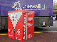 The Wallich Give a Jack a Jacket charity with Lee Trundle of Swansea City FC at the Liberty Stadium, Swansea, Wales, UK. Tuesday 01 November 2016