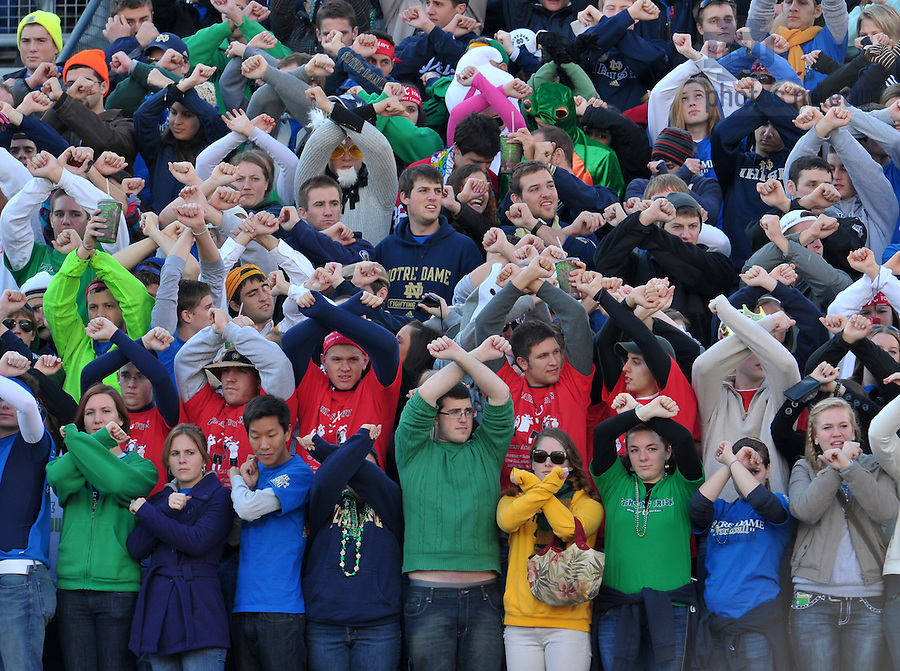 Oct. 29, 2011; Students 'Raise an X for X' in the student section at the Navy game in honor of Xavier Murphy, a fifth-year student and former resident of Zahm Hall who died of cancer earlier in the month...Photo by Matt Cashore