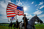 """October 16, 2021: The precision Equestrian Military Drill team for the 3rd U.S. Infantry, traditionally known as """"The Old Guard,"""" performs in the Main Arena on Cross Country day during the Maryland Five-Star at the Fair Hill Special Event Zone in Fair Hill, Maryland on October 16, 2021. Scott Serio/Eclipse Sportswire/CSM"""